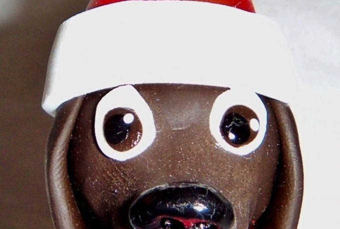 make you a cute dog in a Santa hat Christmas ornament sculpture