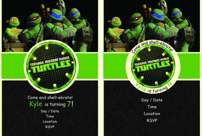 Ninja Turtle Birthday Invitation Template for great invitations example