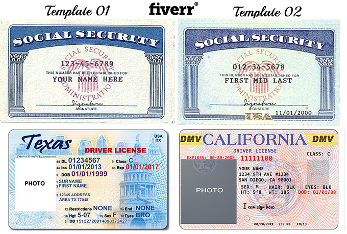 Make novelty social security card driver license or for Make a social security card template