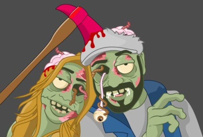 draw you as a hilarious fun cartoony zombie