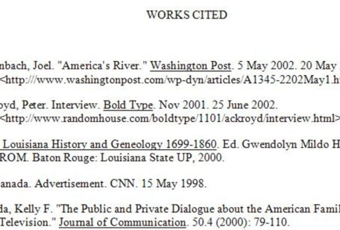 Work Cited Page Essay Example