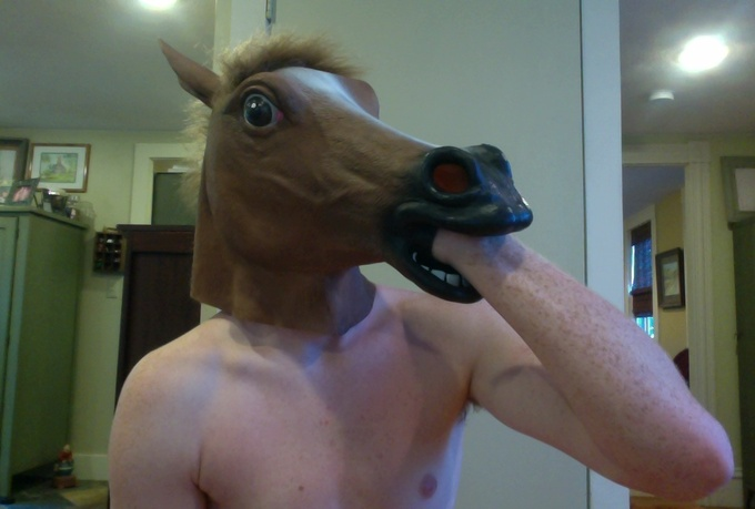 film a HORSE head mask custom message video or ad